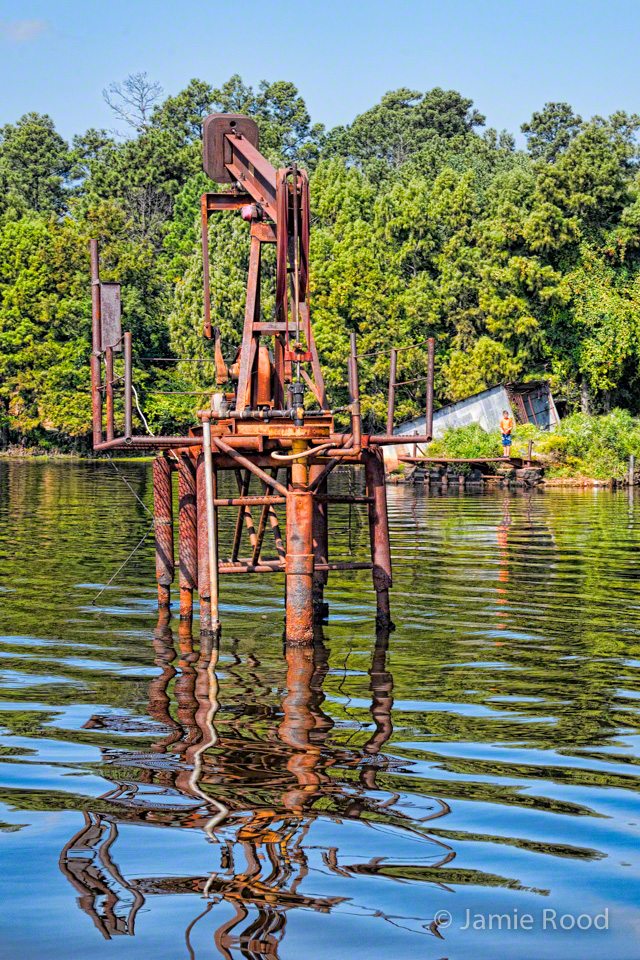 Pumpjack Down with Boy Fishing