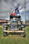 Old Ford with Texas Flag