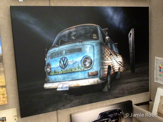 VW Bus Baby Blue - Travel Spirit on Canvas